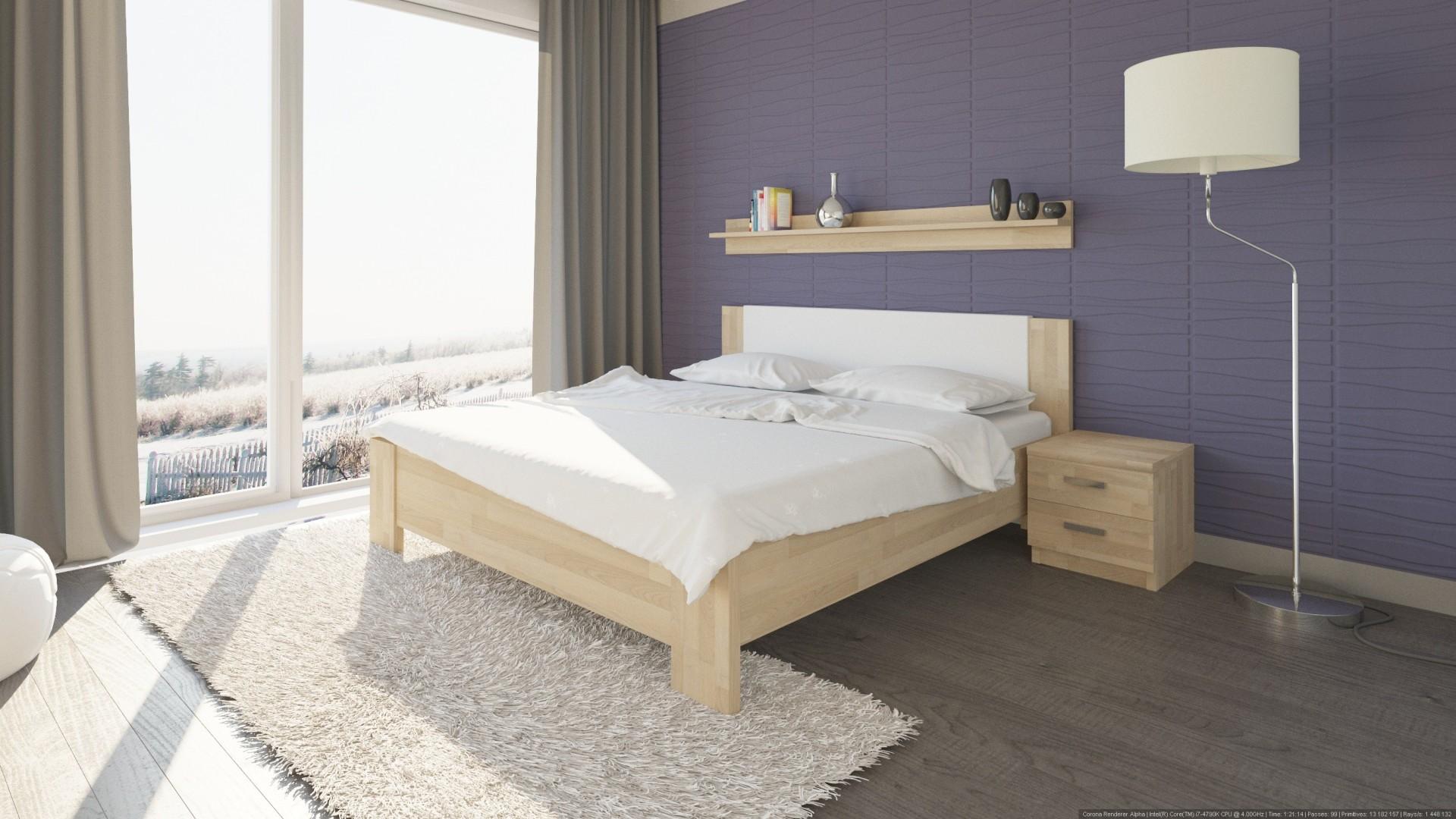 Levně TEXPOL NIKOLETA - masivní dubová postel s čalouněným čelem