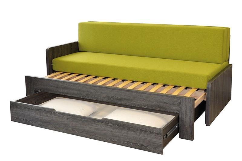 Ahorn DUOVITA 80 x 200 lamela - rozkládací postel a sedačka 80 x 200 cm levá - dub bílý, lamino