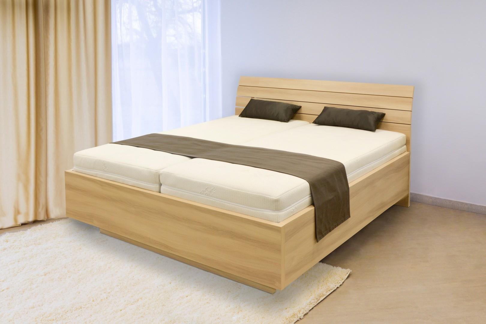 Ahorn SALINA Basic - dvoulůžková postel se střednicí 160 x 200 cm dekor akát, 38 mm lamino