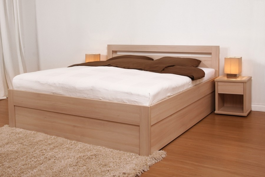BMB MARIKA KLASIK - kvalitní lamino postel s úložným prostorem 140 x 200 cm, lamino