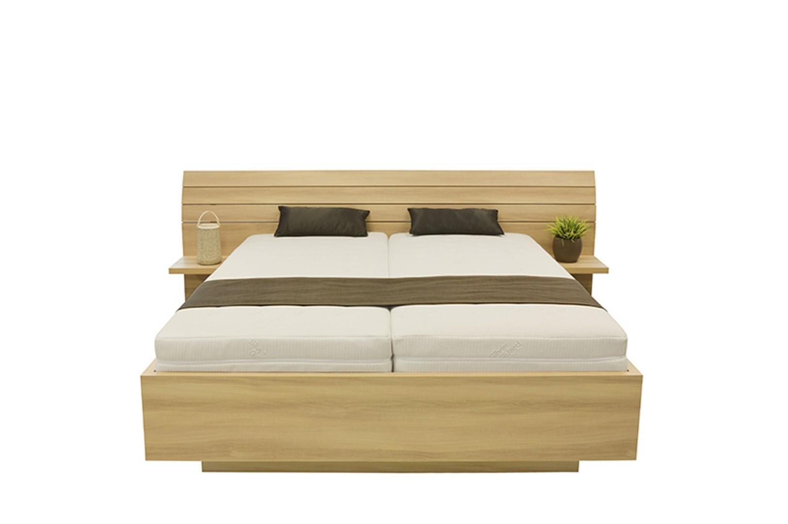 Ahorn SALINA - dvoulůžková postel s širokým čelem 140 x 200 cm dekor akát, 38 mm lamino