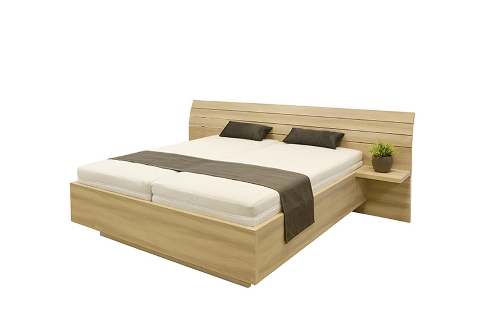 Ahorn SALINA - dvoulůžková postel s širokým čelem 160 x 200 cm dekor akát, 38 mm lamino