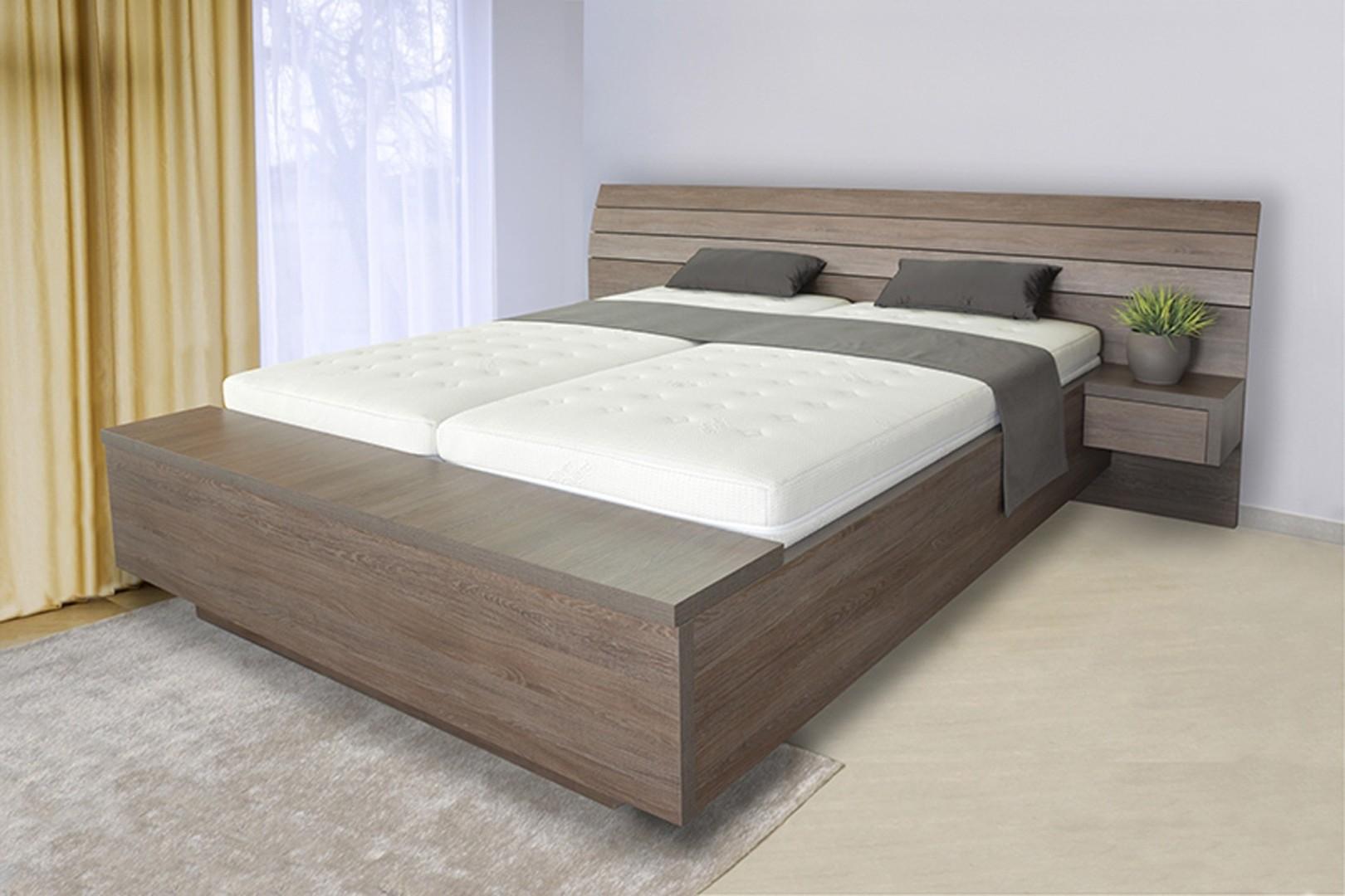Ahorn SALINA BOX U NOHOU - dvoulůžková postel s úložným boxem 160 x 200 cm dekor akát, 38 mm lamino