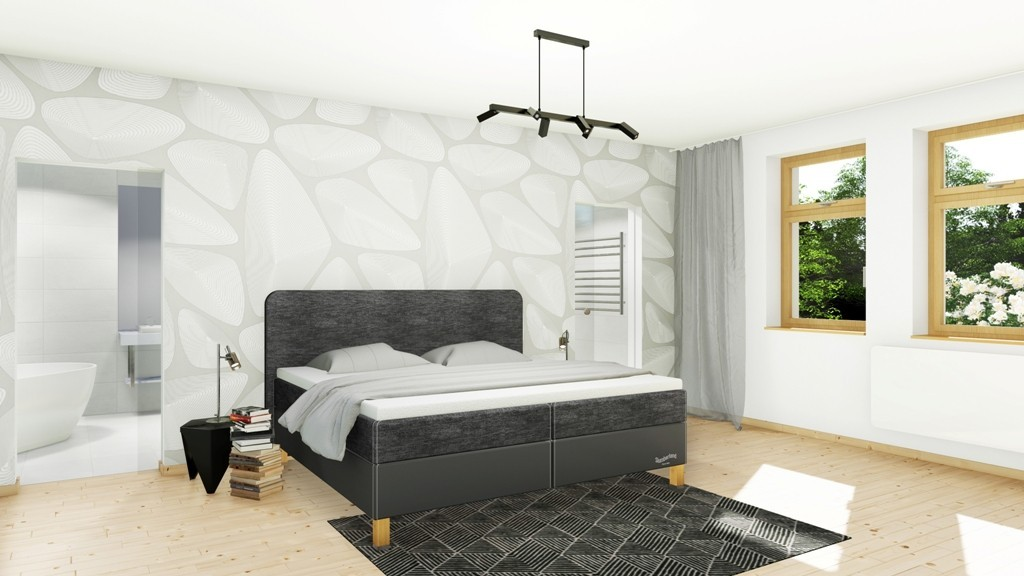 Slumberland BEDFORD - postel s matrací, úložným prostorem i roštem 80 x 200 cm, lamino